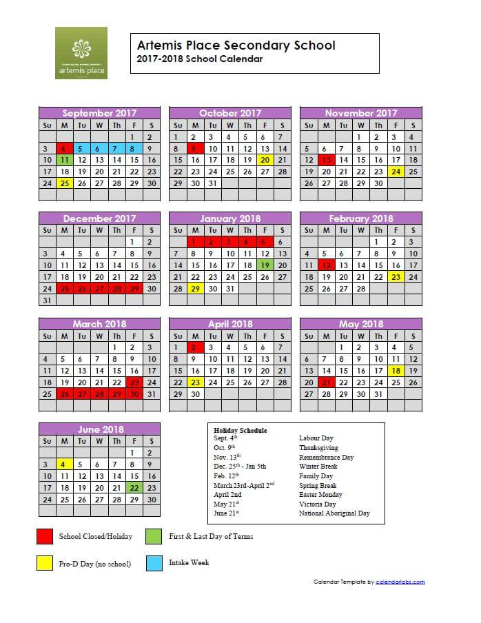 year at glance calendar 2017 2018 artemis place