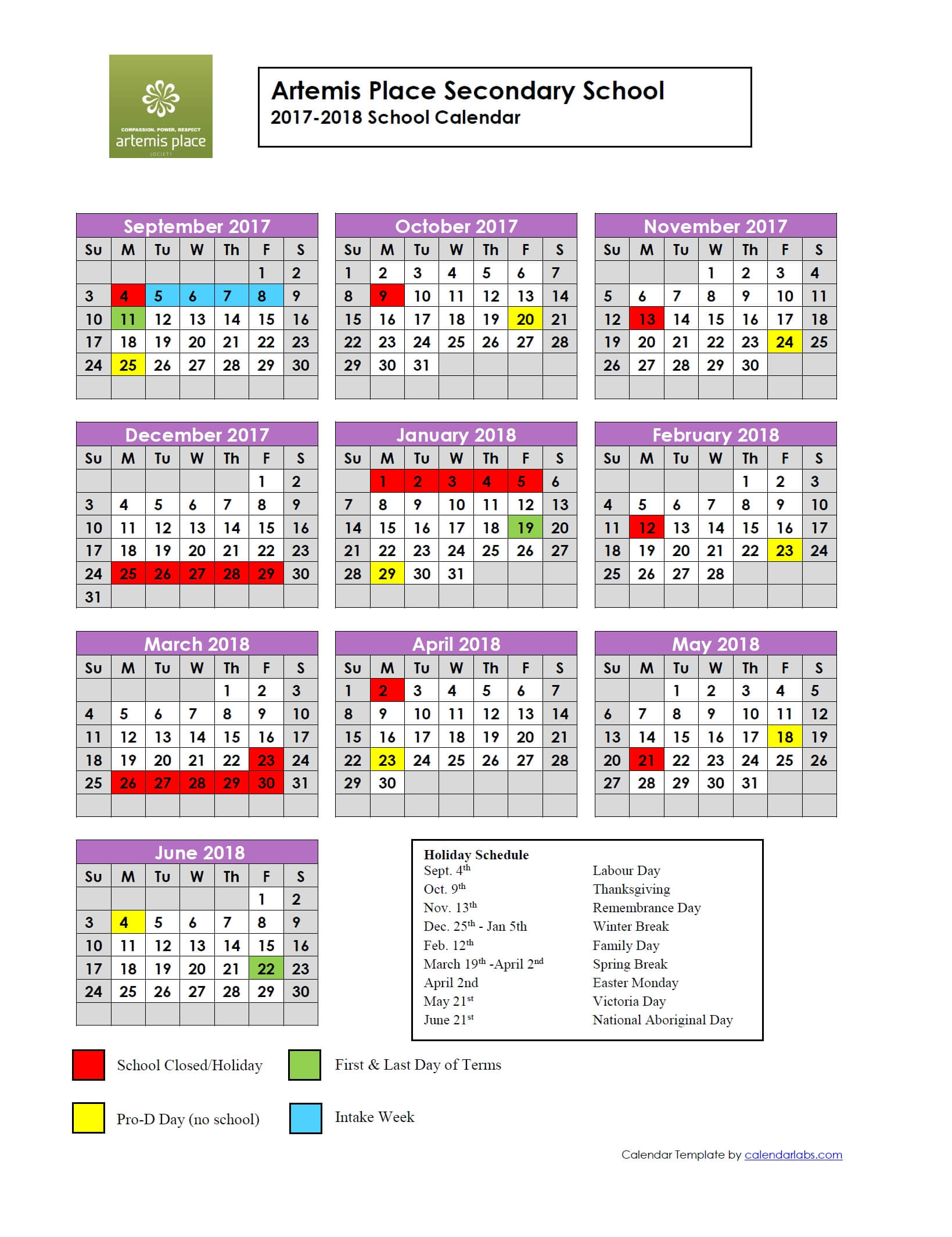 2017 2018 year at glance calendar artemis place