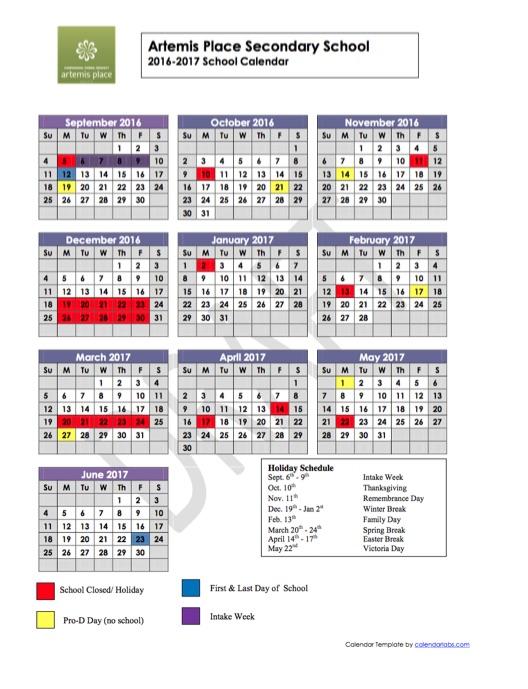 artemis year at glance calendar 2016 2017 artemis place